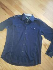 """Mens """"CAVALRY"""" Button-Up Americana Western Style Trim Shirt  Size Large"""