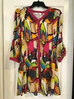 Rossi Roma Women's Jacket-open front  Tunic Colorful Crinkle Top NEW XL