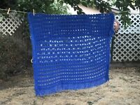 "Handmade Afghan Crochet Boho Royal Blue Lap Throw Baby Blanket 53"" x 45"""