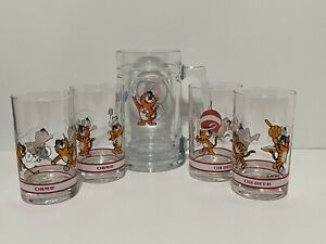 OB Lager 1988 Seoul Olympic Glass Beer Mug Oriental Brewery Hodori Tiger Sports