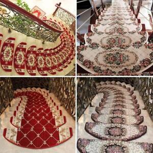 1pc Stair Tread European Style Mat Floral Anti-Skid Step Carpet Rug Home Decor