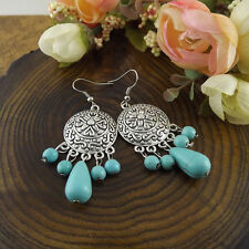 Fashion Tibet Silver Vintage Flower Turquoise Dangle Earring Hook Woman Gift