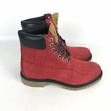 Timberland Premium Leather Hiking Boots Men's Size 9.5 Red A27RA