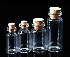 Lot de 20 fioles pendentifs mini bouteilles flacons 16x35mm en verre bouchon HG