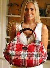 Kate Spade WOOL PLAID Karen Large HOBO TOTE BLUE RED BAG Shoulder Handbag