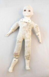 """Bisque Ceramic Girl Doll  4 Parts Repair Unbranded Doll 15"""" Sleepy Eyes Vintage"""