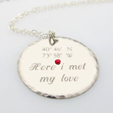 Latitude Longitude Disc Necklace - Sterling Silver Personalized GPS Pendant