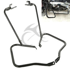 Black Saddle Bag Bracket Guard Bar Set For Harley Touring Road King FLHR 14-2020