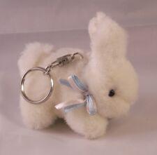 "Rare Jerry Elsner 3"" Plush Mini Fluffy White Bunny Rabbit w/Ribbons Keychain"