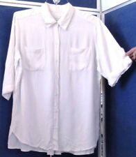 EUC Long TUNIC TOP by CHICO'S Off-White 100% Rayon BACK PLEAT 2 POCKETS Sz 2