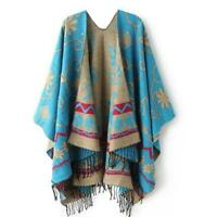 Womens Winter Knitted Shawl Scarf Cashmere Poncho Capes Shawl Cardigans Scarf
