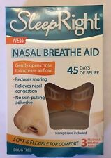 3 Pack SLEEP RIGHT Nose Nasal Breathe Aid Stop Snoring Breath Breathing + Case!!