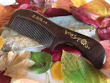 Handcrafted Dark Curupay Comb; Medium Handle, All Natural, Gold Floral Engraved