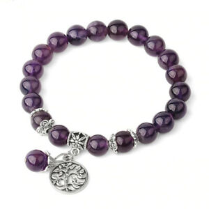 Amethyst Bead Bracelet Charm Tree of Life Charm Reiki Chakra Gemstone Crystal UK