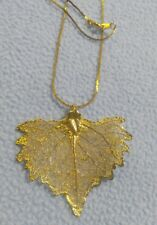 """Stunning Gold Plated Delicate Natural Leaf Pendant Necklace 18"""""""