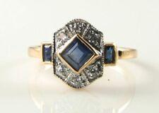 LUSH 9K 9CT ROSE GOLD SAPPHIRE & DIAMOND ART DECO INS RING FREE RESIZE