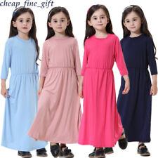 Islamic Girls Traditional Dress Kids Muslim Abaya Robe Arab Children Casual Gown