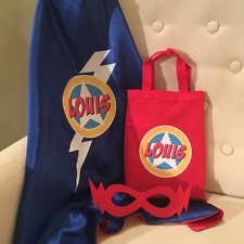 GIRLS BOYS SUPERHERO KIT SET - PERSONALISED CAPE & MASK IN COTTON BAG GREAT GIFT