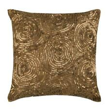 Gold 18x18 inch Designer Pillow Cover, Silk Sequin Embellished - Golden Touch
