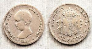 España-Alfonso XIII. 1 Peseta 1891**. MBC-/VF-. Plata 5 g. Escasa