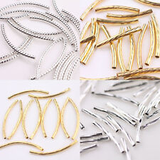 60pcs Curved Wave Tube Elbow Spacer Beads Connectors Bar Links Jewelry Findings