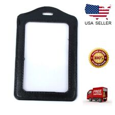ID Badge Holder Leather Case Clear Color Border Lanyard Holes Bank Credit Card