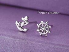 Small Silver Nautical Pierced Stud Earrings Sea Life Anchor Helm Rudder NEW