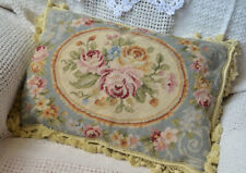 "20"" Aubusson Needlepoint Pillow Sham Rustic Rose with Tassel Wool New Christmas"