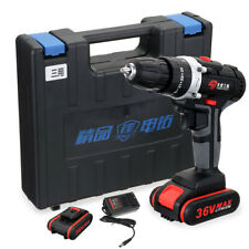 36V 25 Speed 28 N.m Electric Cordless Drill with 2 Battery + Charger, Carry Case