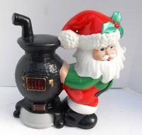 "Vintage Ceramic Santa Claus at Pot Belly Stove Glenview Mold 1970s 10"" Tall"