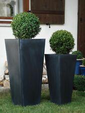"Casa Mina Zink Blumenkübel Pflanzkübel ""Rangoon"" 2er Set Schwarz 85/65cm"