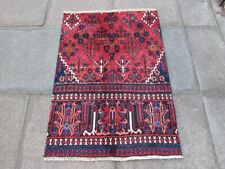 Vintage Fragment Traditional Hand Made Oriental Wool Blue Red Small Rug 116x82cm