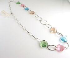 Collana lunga Rebollo in argento e cristalli colorati