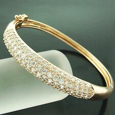 BANGLE CUFF BRACELET REAL 18K ROSE G/F GOLD DIAMOND SIMULATED PAVE DESIGN