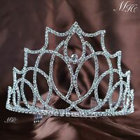 """Beautiful Tiara Crown 3.5"""" Hair Combs Clear Crystal Bridal Wedding Pageant Party"""