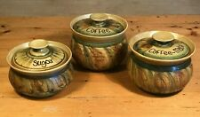 Alvingham Studio Pottery Sugar, Coffee & Coffee Mate Pots / Jars with Lids