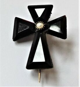 Antique VICTORIAN French Jet and Seed Pearl Mourning Cross Brooch