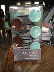 CROSCILL 12 Shower Curtain Rings / Hooks NEW In Box