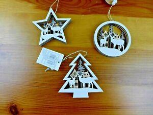 Christbaumschmuck Hänger Weihnachten Holz Hirsch 3 D Optik  Motivwahl