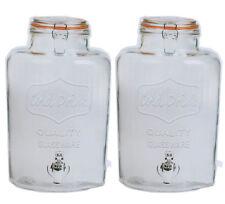Set Of 2 Large 7.6L Drink Dispenser Clip Top Storage Ice Beverage Jar Jug Tap