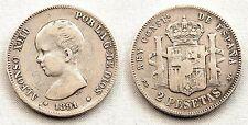 España-Alfonso XIII. 2 Pesetas. 1891**. Madrid PGM. MBC/VF. plata 10 g. MUY RARA