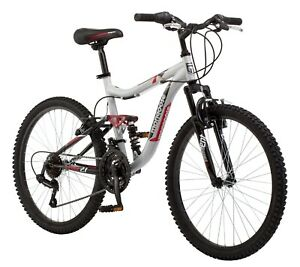 Mongoose Ledge 2.1 Mountain Bike, 24-inch wheels, 21 speeds, boys frame, Silver