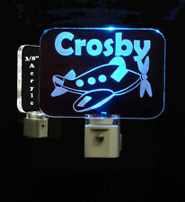 Personalized Kids Airplane LED Night Light- Lamp - Plane