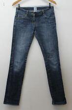 SASS & BIDE Ladies Blue Cotton Blend Faded Zip Fly Slim Leg Size 27 W30 L30