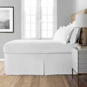 """Spacemaker Extra-Long 21"""" Drop Length Bed Skirt, King, White 78 in. X 80 in."""