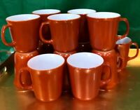 4 Vintage PYREX CORNING Burnt Orange RUST Coffee Mug Cup D Handle - NEW
