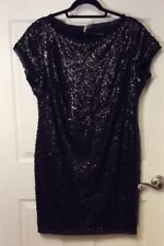 Women's Vince Camuto Size 16  Black Sequin Sheath Dress Short Sleeves $148. NEW