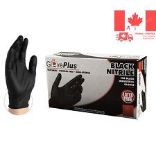 - - Nitrile - GlovePlus - Disposable Powder Free Industrial 5 mil Large Black...
