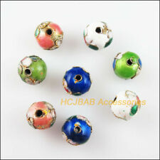 8 New Round Charms Mixed Enamel Cloisonne Ball Accessories Spacer Beads 10mm