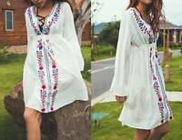 AU SELLER BOHO Cotton Embroidery Tunic Kaftan Top/Dress/Beach Cover Up sw066